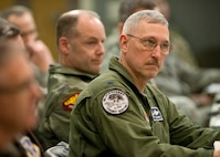 Col. Patrick R. Renwick, commander of the 122nd Fighter Wing, Indiana Air National Guard, listens to remarks by Maj. Gen. Marc H. Sasseville, deputy director of the ANG, during the Air Directorate Field Advisory Council meeting at Joint Base Andrews Md., February 7, 2018. The ADFAC brings more than 20 Weapons System Councils together to openly discuss policy, current issues and priorities. The information gathered from the meeting will be circulated throughout the ANG and used to improve readiness and relevancy. (Air National Guard photo by Master Sgt. Marvin R. Preston)