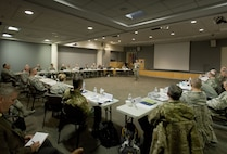 Maj. Gen. Marc H. Sasseville, deputy director of the Air National Guard, addresses the Air Directorate Field Advisory Council meeting at Joint Base Andrews Md., February 7, 2018. The ADFAC brings more than 20 Weapons System Councils together to openly discuss policy, current issues and priorities. The information gathered from the meeting will be circulated throughout the ANG and used to improve readiness and relevancy. (Air National Guard photo by Master Sgt. Marvin R. Preston)