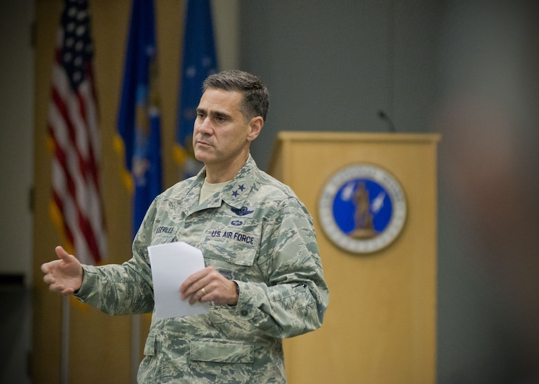 Maj. Gen. Marc H. Sasseville, deputy director of the Air National Guard, addresses the Air Directorate Field Advisory Council meeting at Joint Base Andrews Md., February 7, 2018. The ADFAC brings more than 20 Weapons System Councils together to openly discuss policy, current issues and priorities. The information gathered from the meeting will be circulated throughout the ANG and used to improve readiness and relevancy.