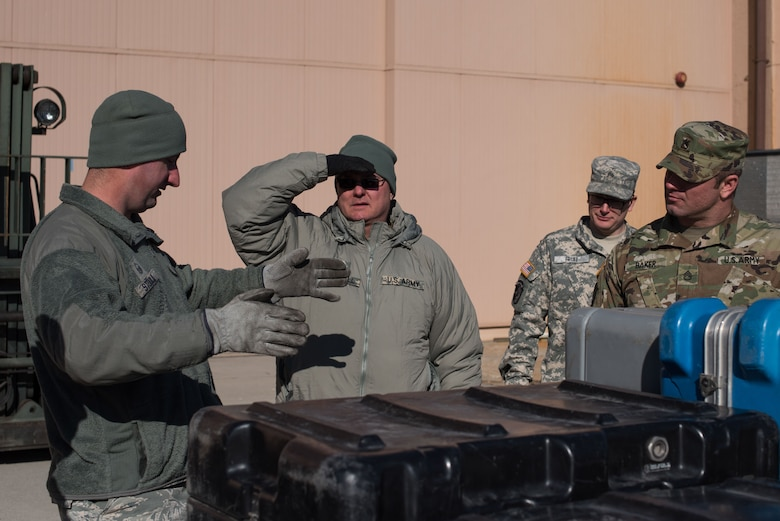 U.S. Air Force Master Sgt. Chad Stoulil, 55th Logistics Readiness Squadron Small Aircraft Terminal superintendent, teaches a cargo preparation course to Soldiers from the U.S. Army Reserve 561 st Regional Support Group at Offutt Air Force Base, Nebraska, Jan. 29, 2018. T he Soldiers gained knowledge and skill in palletization, rolling stock, weighing, ways to protect and secure stock and the hazards to be aware of while working with air cargo. (U.S. Air Force photo by Senior Airman Jacob Skovo)