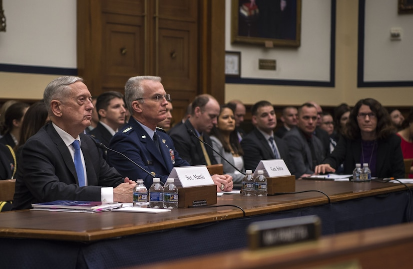 Defense Secretary James N. Mattis and Air Force Gen. Paul J. Selva, vice chairman of the Joint Chiefs of Staff, testify on the National Defense Strategy and the Nuclear Posture Review to the House Armed Services Committee.