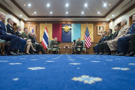 Marine Corps Gen. Joe Dunford, chairman of the Joint Chiefs of Staff, meets with Thai Army Gen. Tarnchaiyan Srisuwan, chief of the Defense Force, at the Royal Thai Armed Forces Headquarters in Bangkok, Feb. 7, 2018.
