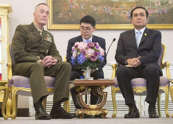 Marine Corps Gen. Joe Dunford, chairman of the Joint Chiefs of Staff, meets with Prime Minister Prayut Chan-ocha at the Government House in Bangkok, Feb. 7, 2018.