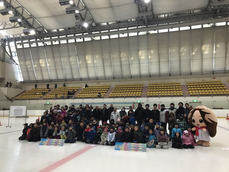 Misawa City and Misawa Air Base kids compete in the 6th Misawa Ice Hockey Exhibition at the Misawa International Center Ice Hockey Arena, Japan, Jan. 27, 2018.