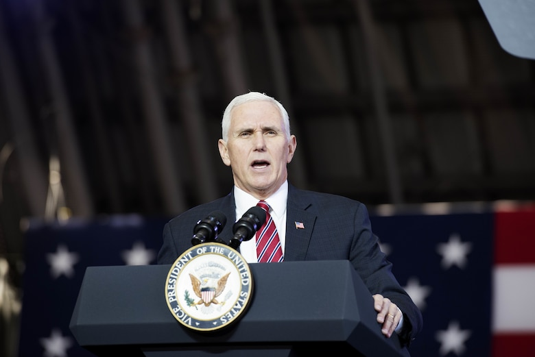 Vice President Michael Pence speaks to service members during a troop talk, Feb. 8, 2018, at Yokota Air Base, Japan.