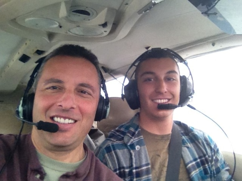 Lt. Col. Joe Mirarchi (left) and his son 2nd Lt. Chris Mirarchi share their love of flying, taking every opportunity to fly together.
