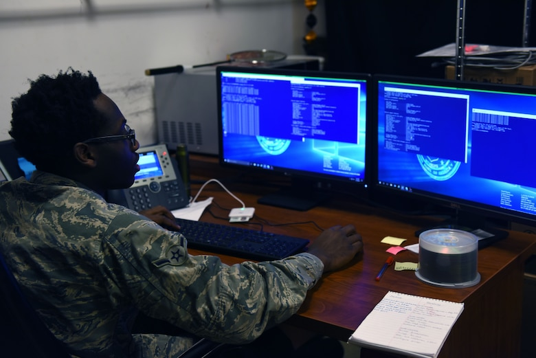 U.S. Air Force Airman Justin Wilson, 39th Communications Squadron client systems technician, runs a program called PowerShell that gathers network information from specific devices and ensures that everything is working correctly at Incirlik Air Base, Turkey, Jan. 16, 2018.