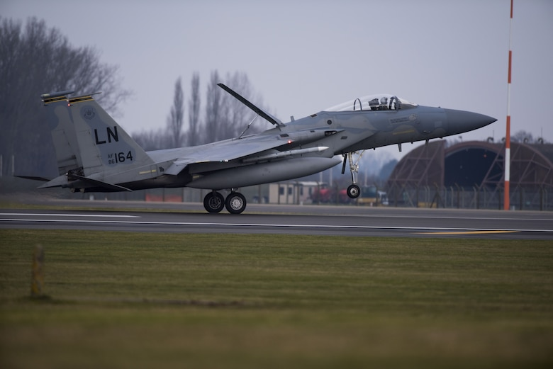 An F-15C from the 493rd Fighter Squadron lands at Royal Air Force Lakenheath, England, Feb. 6, 2018. The F-15C is an all-weather, extremely maneuverable, tactical fighter designed to permit the Air Force to gain and maintain air supremacy over the battlefield. (U.S. Air Force photo/Senior Airman Malcolm Mayfield)