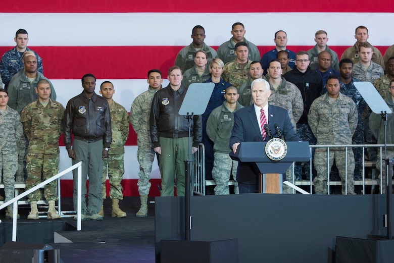 Vice President Michael Pence Addresses Troops at Yokota