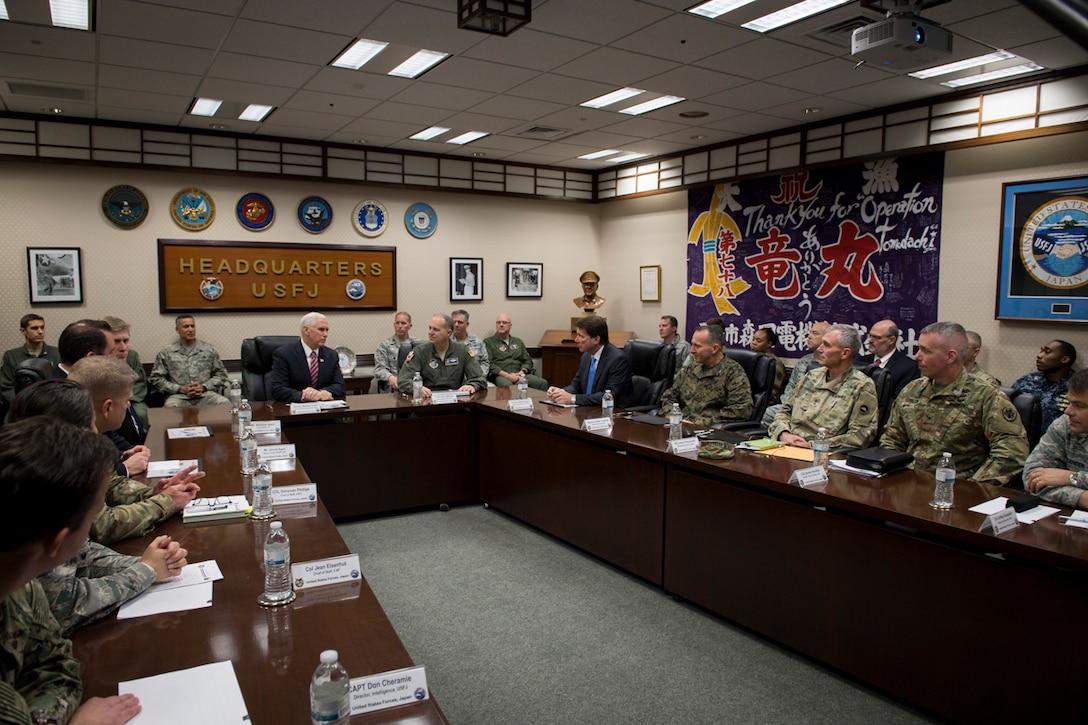 Vice President Michael Pence Addresses Troops at Yokota