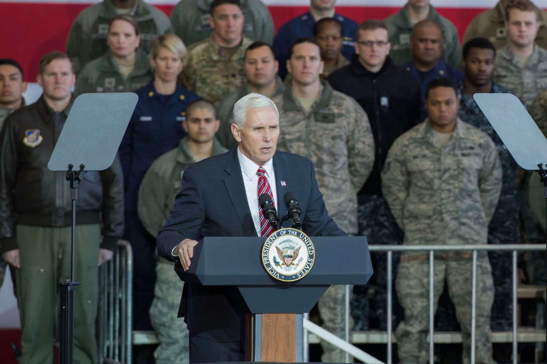 Vice President Mike Pence addresses service members at Yokota Air Base, Japan.