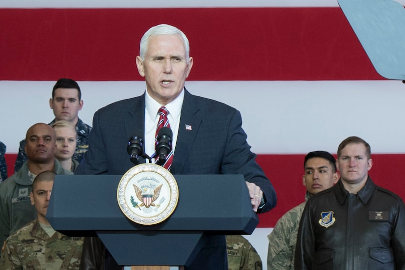 Vice President Mike Pence addresses service members at Yokota Air Base, Japan,