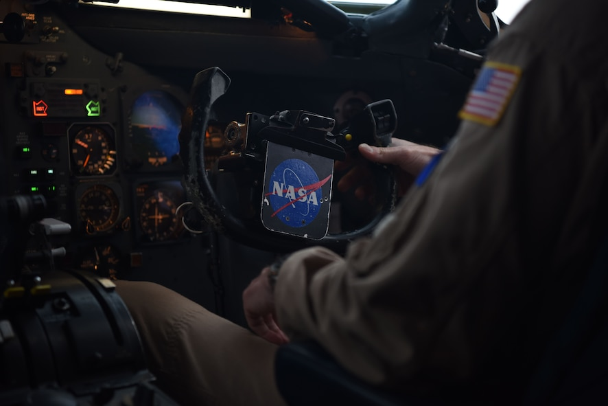 A NASA Armstrong Flight Research Center DC-8 jetliner co-pilot prepares to land on Ramstein Air Base, Germany, Jan. 31, 2018. The co-pilot briefly took control of the plane, so the pilot could coordinate the landing with the control tower.
