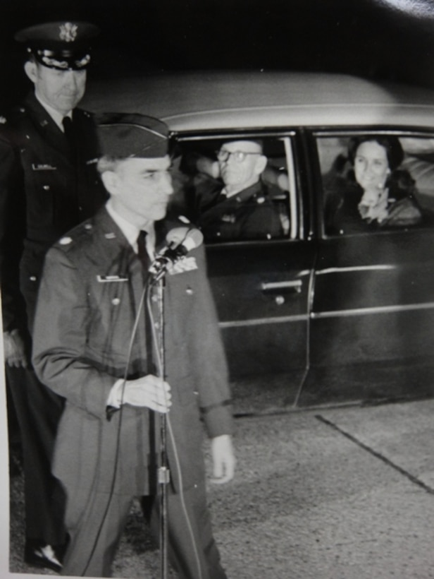 """Retired Col. Carlyle """"Smitty"""" Harris speaks to media and a nearby crowd in Feb. 1973. He did not realize his wife was within a few steps of him during the address, but saw her later along with the rest of his family. (Courtesy photo)"""