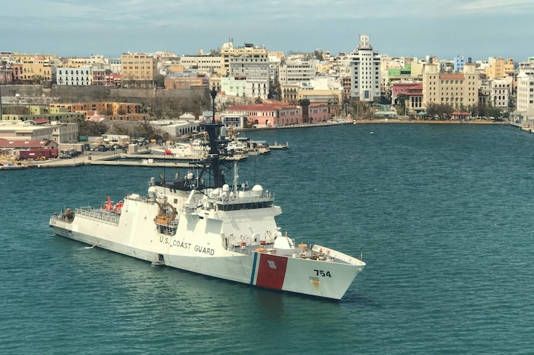 USCGC JAMES (WMSL 754) anchored in San Juan, Puerto Rico harbor. The James arrived in Puerto Rico to assist in the humanitarian and disaster relief efforts following Hurricane Maria.