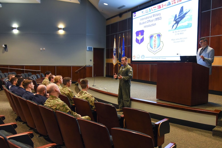 U.S. Air Force Col. Sean C. Routier, F-35 Academic Training Center director, welcomes new international maintenance students Feb. 1, 2018, at Eglin Air Force Base, Fla. The ATC is a state of the art facility that trains F-35 pilots from the U.S. Air Force and Navy, and all F-35 maintainers, including ten foreign countries. (U.S. Air Force photo by Airman 1st Class Emily Smallwood)
