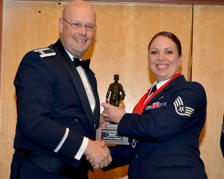 Col. Travis Caughlin, 507th Maintenance Group commander, presents the 2017 507th MXG Maintenance Professional of the Year award in the Airman category for outstanding performance to Staff Sgt. Kaycee Graham, 507th Maintenance Squadron, Feb. 3, 2018, in Midwest City, Okla. (U.S. Air Force photo/Tech. Sgt. Samantha Mathison)