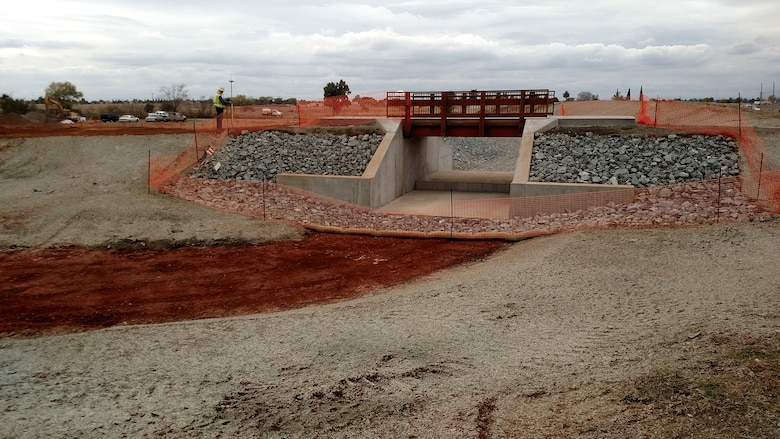 The County of Sacramento completed a construction project recently, which was funded by the Air Force to upgrade the dam at Mather Lake and construct a new spillway. The work began in July 2017 and took four months to complete. (U.S. Air Force courtesy photo).