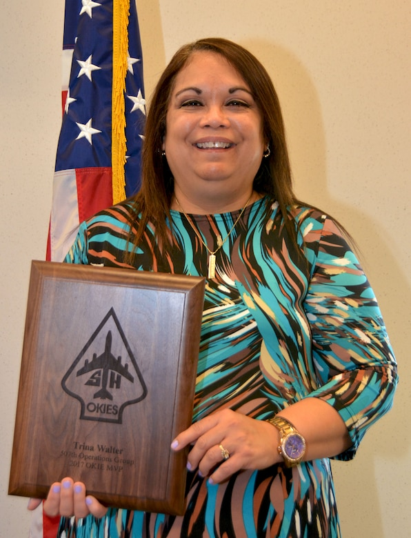 Mrs. Trina Walter, 507th Operations Group, holds the 507th Operations Group 2017 Okie MVP award Feb. 8, 2018, at Tinker Air Force Base, Okla. Walter was recognized by the 507th OG for outstanding performance and dedication to the mission throughout 2017. (U.S. Air Force photo/Tech. Sgt. Samantha Mathison)