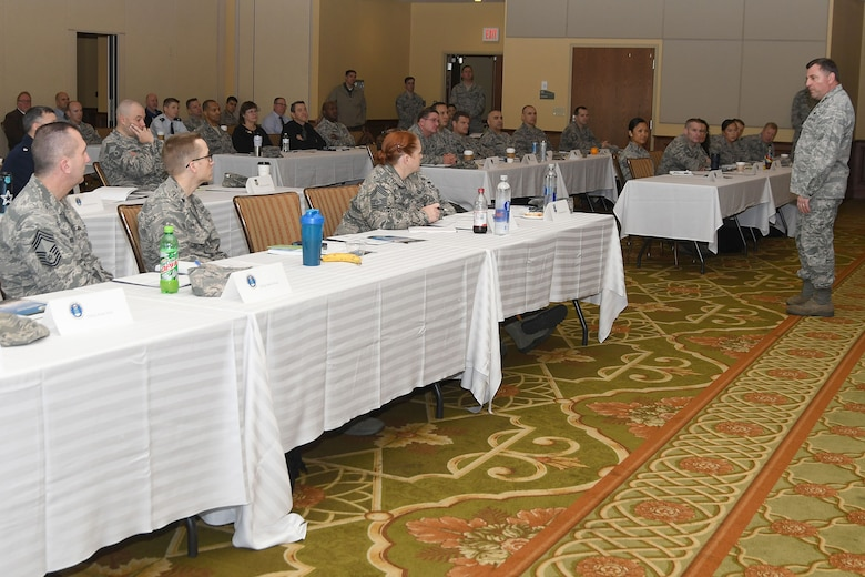 Maj. Gen. Timothy Leahy, 2nd Air Force commander, gives opening remarks during the Career Field Managers Conference and Leadership Summit at the Bay Breeze Event Center Jan. 29, 2018, on Keesler Air Force Base, Mississippi. The conference was held to engage CFMs with 81st Training Group schoolhouse leadership and advance Air Educations and Training Command's redesign of the continuum of learning for each career field trained at the 81st TRG. (U.S. Air Force photo by Airman 1st Class Suzanna Plotnikov)