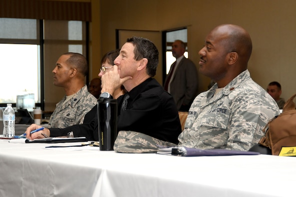 Career Field Managers Conference and Leadership Summit attendees listen to Maj. Gen. Leahy, 2nd Air Force commander, give opening remarks at the Bay Breeze Event Center Jan. 29, 2018, on Keesler Air Force Base, Mississippi. The conference was held to engage CFMs with 81st Training Group schoolhouse leadership and advance Air Educations and Training Command's redesign of the continuum of learning for each career field trained at the 81st TRG. (U.S. Air Force photo by Airman 1st Class Suzanna Plotnikov)