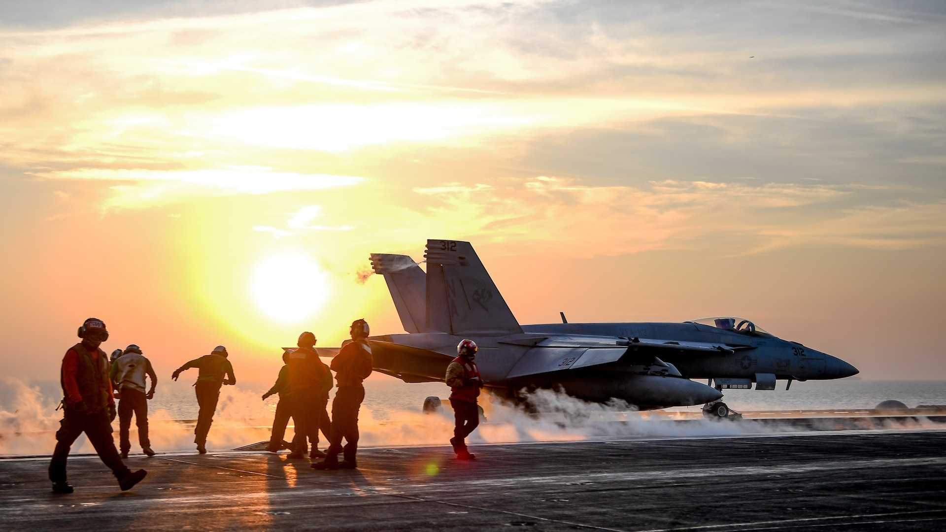 F/A-18E Super Hornet assigned to Stingers of Strike Fighter Attack Squadron 113 launches from flight deck of aircraft carrier USS Theodore Roosevelt, Arabian Gulf, February 5, 2018 (U.S. Navy/Spencer Roberts)