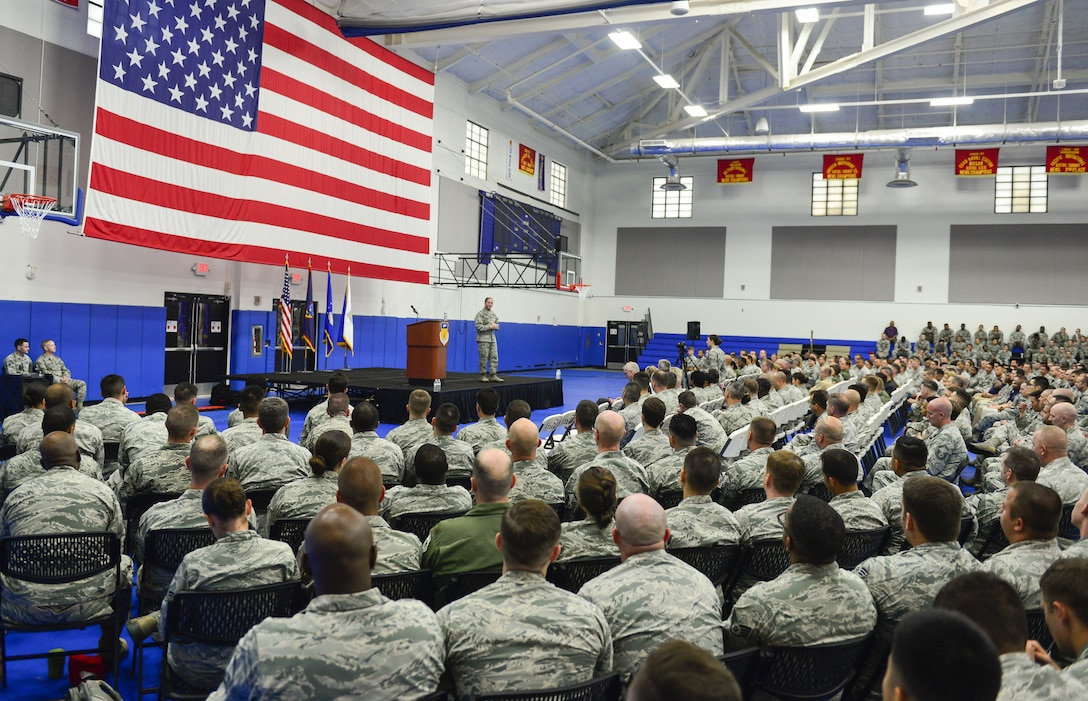 U.S. Air Force Chief of Staff Gen. David L. Goldfein speaks to uniformed and civilian Airmen during an all call at Andersen Air Force Base, Guam, Feb. 8, 2018. Goldfein shared his thoughts about the future of the Air Force and how Team Andersen's work plays a strategic role. (U.S. Air Force photo by Airman 1st Class Christopher Quail)