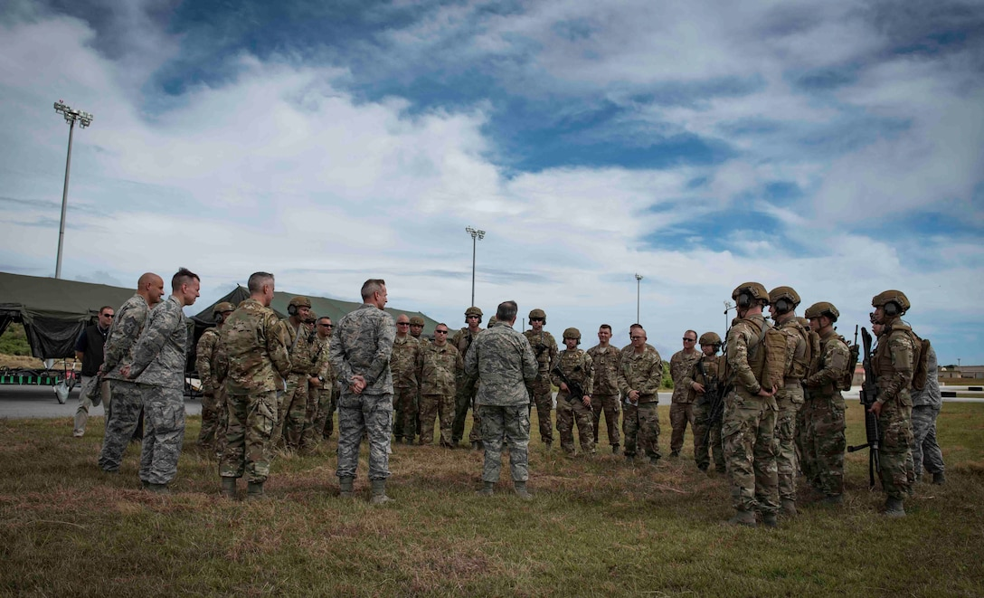 Air Force Chief of Staff Gen. David L.  Goldfein, meets members of the 36th Contingency Response Group at Andersen Air Force Base, Guam, Feb. 8, 2018. Goldfein met with members of Team Andersen, during his first visit to Andersen AFB as chief of staff.  (U.S. Air Force photo by Staff Sgt. Alexander W. Riedel)
