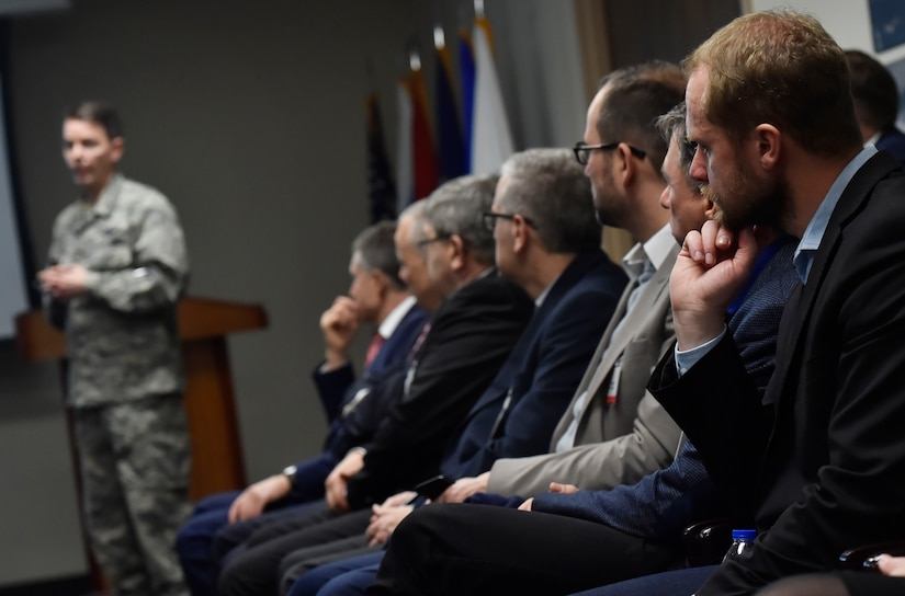 North Atlantic Treaty Organization Parliamentary Assembly Defense and Security Committee members listen to a brief given by U.S. Air Force Col. Jeff Nelson, 628th Air Base Wing commander, about the joint base mission at Joint Base Charleston, South Carolina, Feb. 8, 2018. The visit provided NATO PA members an opportunity to speak with JB Charleston leadership, tour a U.S. Air Force C-17 Globemaster III and also learn about the aeromedical evacuation Transportation Isolation System operations and capabilities. The NATO PA has provided a unique specialized forum for members of parliament from across the Atlantic Alliance to discuss and influence decisions on Alliance security. Through its work and activities, the Assembly facilitates parliamentary awareness and understanding of the key issues affecting the security of the Euro-Atlantic area, and supports national parliamentary oversight over defense and security.