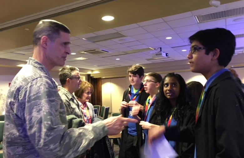 Students involved in the FIRST LEGO League competitions engaged with multiple senior leaders from Wright-Patterson Air Force Base Feb. 4 at Wright State University, including Brig. Gen. Mark Koeniger,711th Human Performance Wing commander. (U.S. Air Force photo/Marie Vanover)