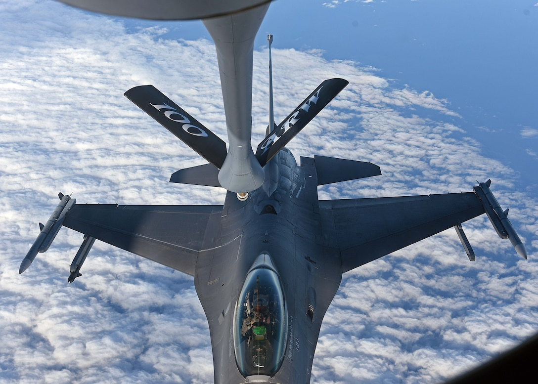 A U.S. Air Force F-16C Fighting Falcon prepares to receive fuel during air refueling training in Swedish airspace, Feb. 8, 2018. The training was in conjunction with a rotational deployment of F-16Cs from the Ohio Air National Guard's 180th Fighter Wing to Amari Air Base, Estonia, as part of a Theater Security Package. (U.S. Air Force photo by Airman 1st Class Luke Milano)