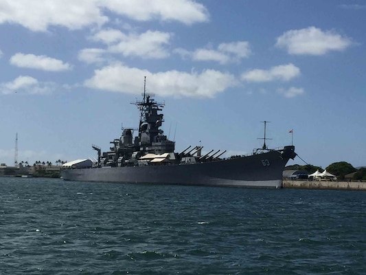 USS Missouri, moored in Pearl Harbor, Hawaii.
