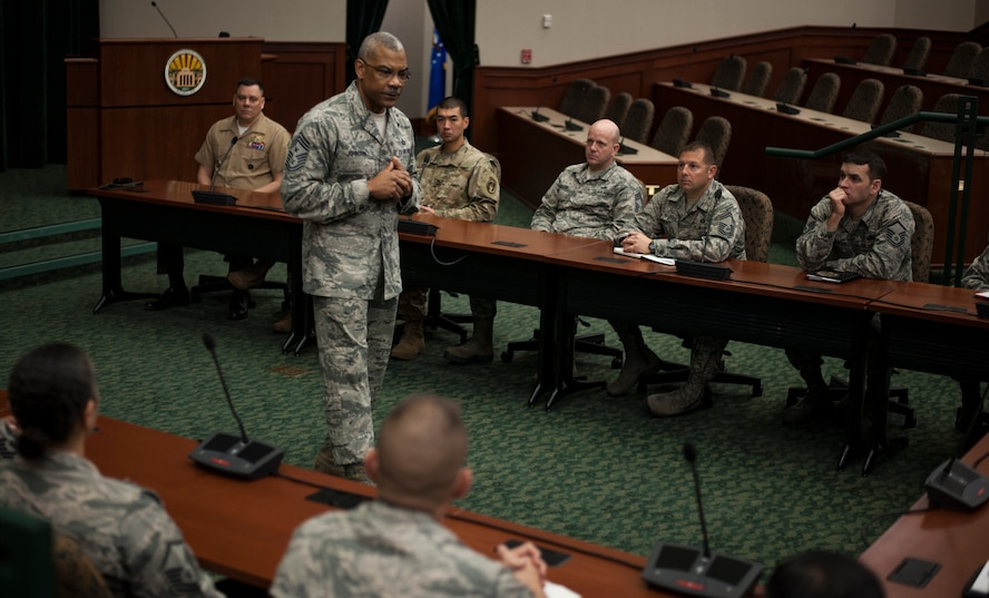 Command Chief Master Sgt. Jack Johnson Jr., the command senior enlisted leader (CSEL) with the Supreme Allied Command Transformation, Norfolk, Va., speaks to senior NCOs and answers questions at MacDill Air Force Base, Fla., Feb. 9, 2018