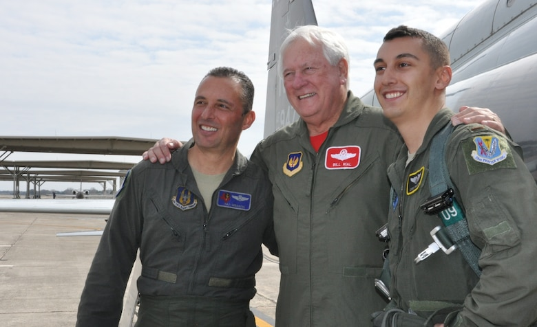 Longtime friend and mentor Col. William Rial (USAF retired) congratulates the Mirarchis after the fini flight. (U.S. Air Force photo by Debbie Gildea)