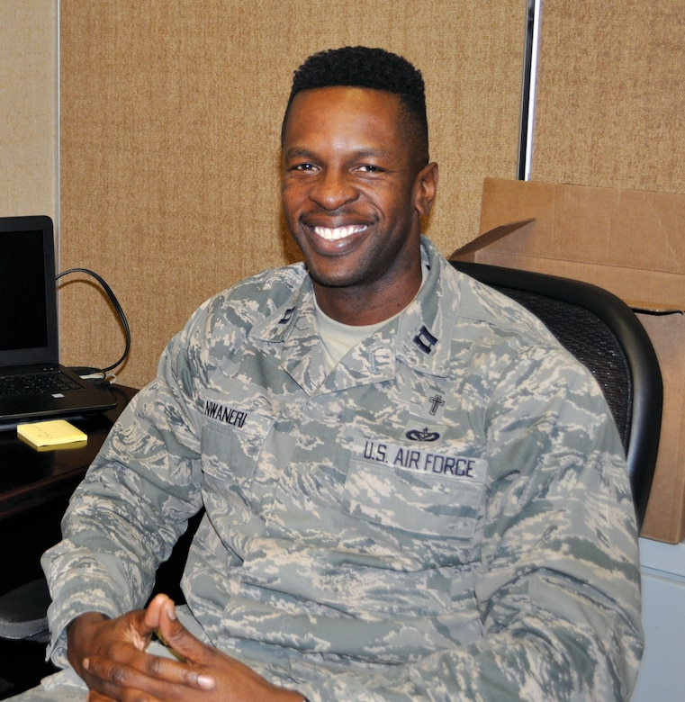 Chaplain (Capt.) Okechukwu Nwaneri serves as the group chaplain for the 72nd Mission Support Group and 552nd Maintenance Group.