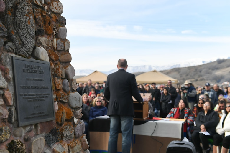 Lt. Governor Spencer Cox speaks during a remembrance ceremony of the Bear River Massacre near Preston, Idaho. (U.S. Air Force photo by Cynthia Griggs)
