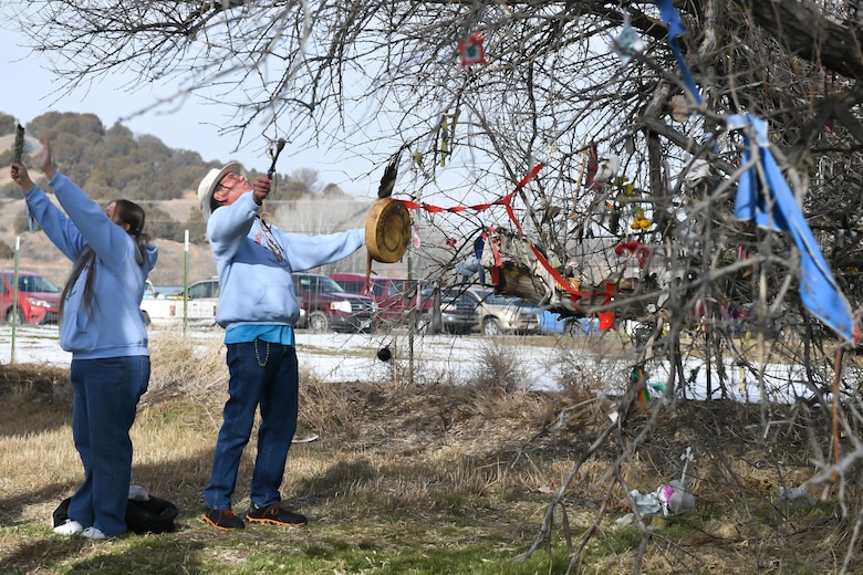 Spiritual leaders from the Northwestern Band of the Shoshone Nation offer a blessing on the site of the Bear River Massacre near Preston, Idaho. (U.S. Air Force photo by Cynthia Griggs)