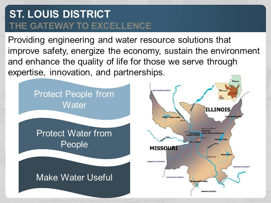 Providing engineering and water resource solutions that improve safety, energize the economy, sustain the environment and enhance the quality of life for those we serve through expertise, innovation, and partnerships.