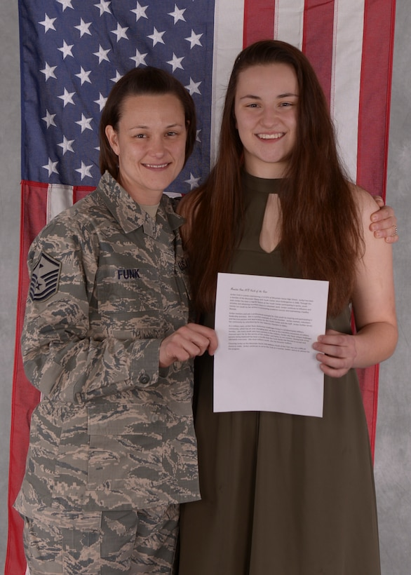 Master Sergeant Christy Funk poses with her daughter Jordyn Funk, the military youth of the year for the state of Idaho. Funk moves on to the regional stage held in Atlanta, GA.(U.S. Air Force photo by Airman 1st Class Jeremy D. Wolff)