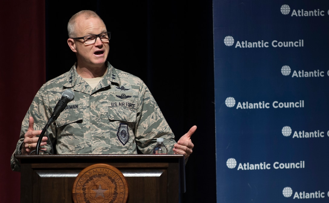 Maj. Gen. Chris Weggeman, Air Forces Cyber commander, provides closing remarks during a cybersecurity conference Feb. 8, 2018, at Texas A&M University-San Antonio. Several cybersecurity industry experts, policy makers and stakeholders also spoke during the event, which was hosted by Atlantic Council, Victor Pinchuk Foundation and Texas A&M University-San Antonio. (U.S. Air Force photo by Tech. Sgt. R.J. Biermann)