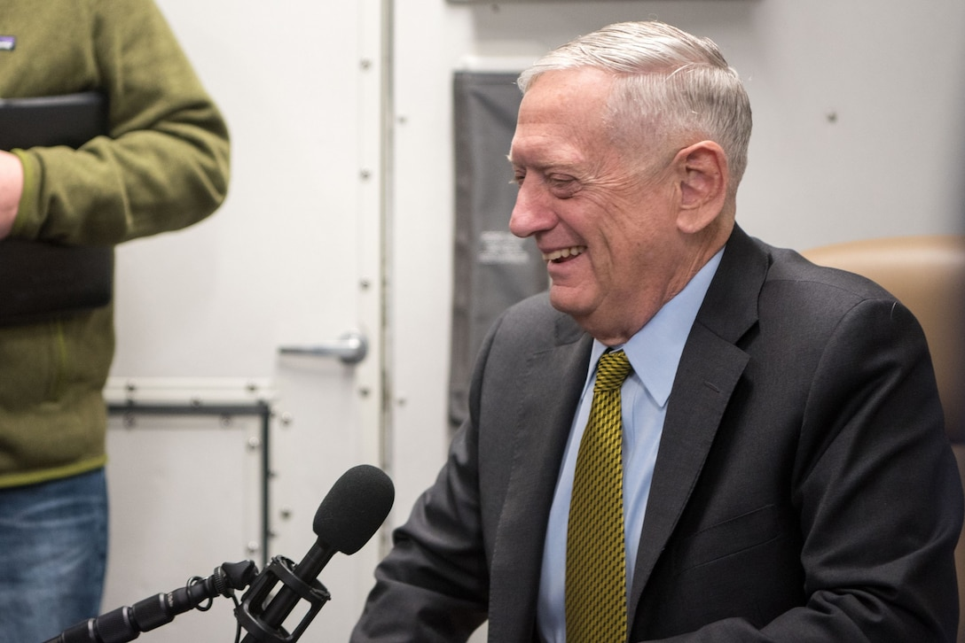 Defense Secretary James N. Mattis speaks with reporters while en route to Indonesia.