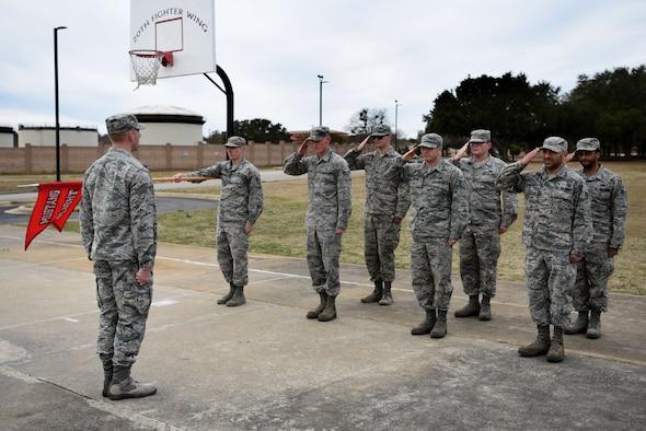 Senior Master Sgt. David B. Reid Airman Leadership School (ALS) students perform drill movements at Shaw Air Force Base, S.C., Feb. 2, 2018.