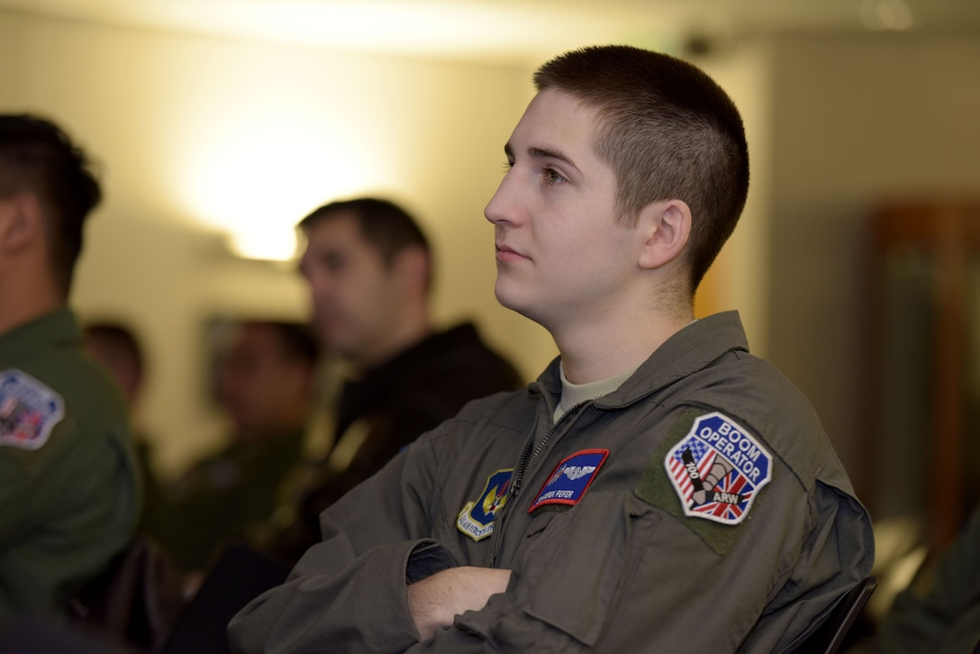 U.S. Air Force Senior Airman Derek Peifer, 351st Air Refueling Squadron boom operator, listens to senior enlisted leaders from the career enlisted aviator career field at RAF Mildenhall, Feb. 8, 2018. The briefings discussed CEA retention issues, incentive programs and cross-training opportunities for Airmen interested in the CEA career fields. (U.S. Air Force photo by Senior Airman Alexandra West)
