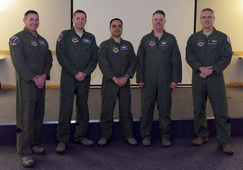 Senior enlisted leaders from the career enlisted aviator career field pose for a photograph during their roadshow at RAF Mildenhall, England, Feb. 8, 2018. The briefings discussed CEA retention issues, incentive programs and cross-training opportunities for Airmen interested in the CEA career fields.  (U.S. Air Force photo by Senior Airman Alexandra West)
