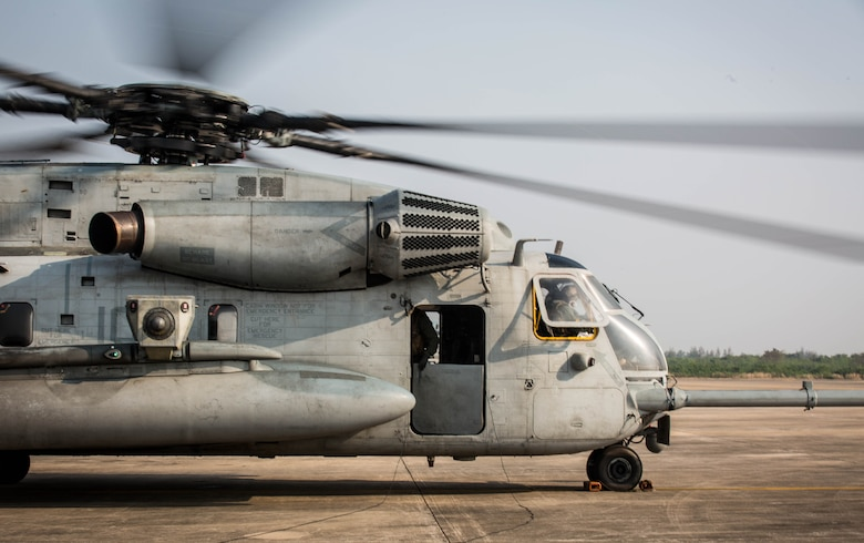 A CH-53E Super Stallion lands on the runway at U-Tapao International Airport, Kingdom of Thailand, Feb. 10, 2018. The U.S. Marines of Marine Heavy Helicopter Squadron 466 'Wolfpack' arrive to the Kingdom of Thailand to participate in Cobra Gold, one of the largest theater security cooperation exercises in the Indo-Asia-Pacific region. The Super Stallion belongs to HMH-466, Marine Aircraft Group 16, 3rd Marine Aircraft Wing, currently forward deployed under the unit deployment program with MAG-36, 1st MAW, based out of Okinawa, Japan. Exercise Cobra Gold 2018 is an annual exercise conducted in the Kingdom of Thailand held from Feb. 13-23 with seven full participating nations.