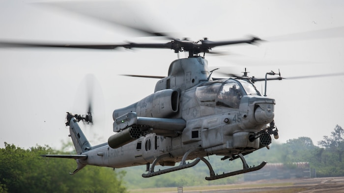 An AH-1Z Viper prepares to land at U-Tapao International Airport, Kingdom of Thailand, Feb. 10, 2018. The Marines of Marine Light Attack Helicopter Squadron 369 'Gunfighters' arrive to the Kingdom of Thailand to participate in Cobra Gold, one of the largest theater security cooperation exercises in the Indo-Asia-Pacific region. HMLA-369, Marine Aircraft Group 39, 3rd Marine Aircraft Wing, is currently forward deployed under the unit deployment program with MAG-36, 1st MAW. Exercise Cobra Gold 2018 is an annual exercise conducted in the Kingdom of Thailand held from Feb. 13-23 with seven full participating nations.