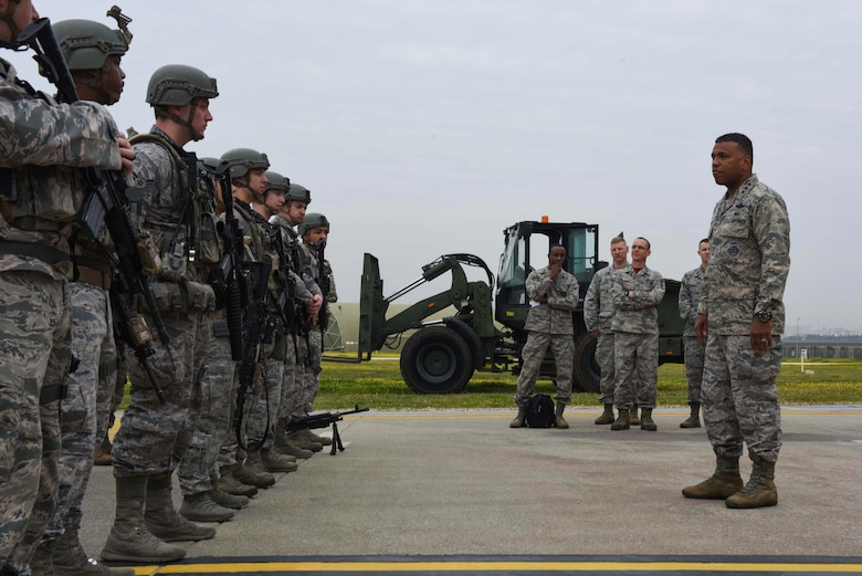 U.S. Air Force Lt. Gen. Richard M. Clark, 3rd Air Force commander, speaks to Airmen assigned to the 39th Security Forces Squadron following a readiness exercise at Incirlik Air Base, Turkey, Feb. 9, 2018.