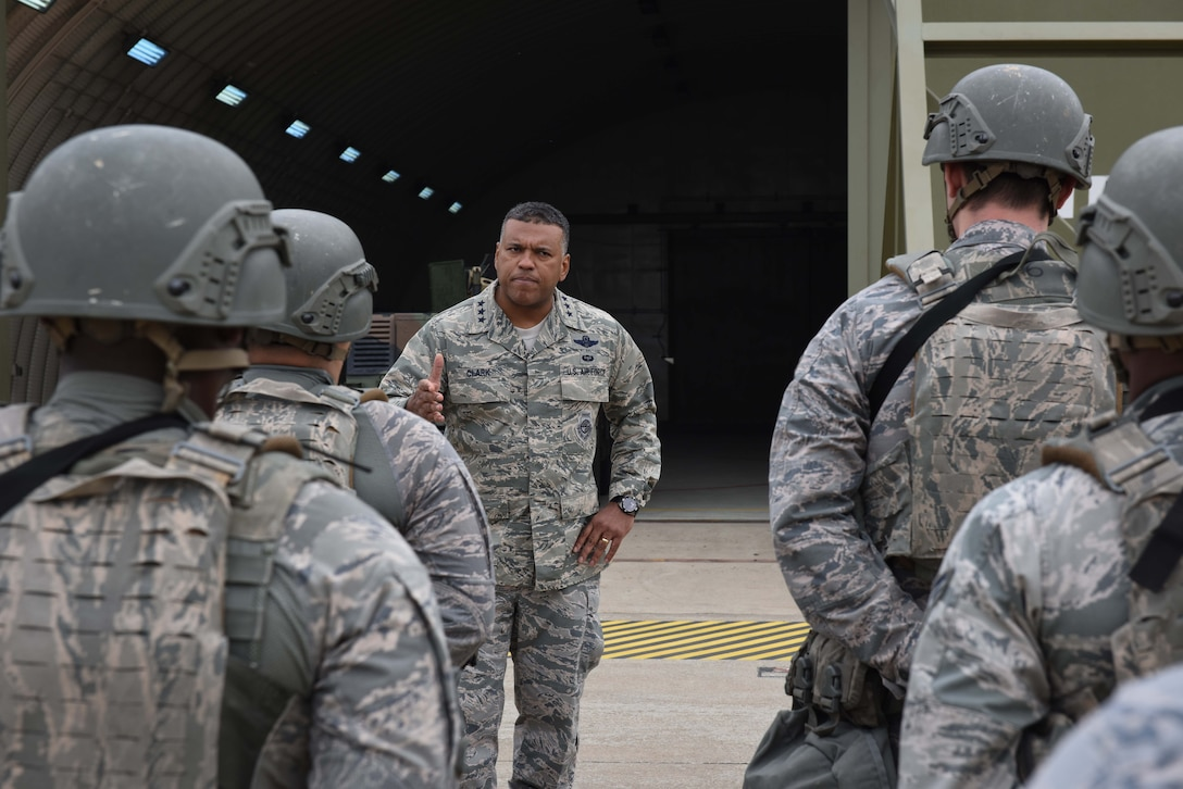 U.S. Air Force Lt. Gen. Richard M. Clark, 3rd Air Force commander, speaks to 39th Security Forces Squadron troops after a readiness exercise at Incirlik Air Base, Turkey, Feb. 9, 2018.