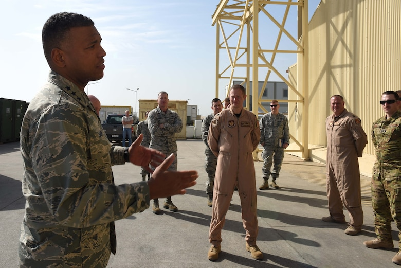 U.S. Air Force Lt. Gen. Richard M. Clark, 3rd Air Force commander, speaks to Airmen assigned to the 414th Expeditionary Reconnaissance Squadron during his visit at Incirlik Air Base, Turkey, Feb. 9, 2018.