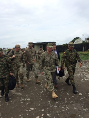 U.S. Navy Adm. Kurt W. Tidd visits a Colombian military unit in Tumaco.